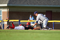 Mahoning Valley Scrappers first baseman Nathan Winfrey (17) tags Anfernee Seymour (3) diving back to first safely on a pickoff attempt during a game against the Batavia Muckdogs on July 3, 2015 at Dwyer Stadium in Batavia, New York.  Batavia defeated Mahoning Valley 7-4.  (Mike Janes/Four Seam Images)
