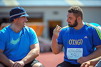 Canterbury's Tom Walsh chats with Otago's Jerram Huston the senior men's shot put on day three of the 2015 National Track and Field Championships at Newtown Park, Wellington, New Zealand on Sunday, 8 March 2015. Photo: Dave Lintott / lintottphoto.co.nz