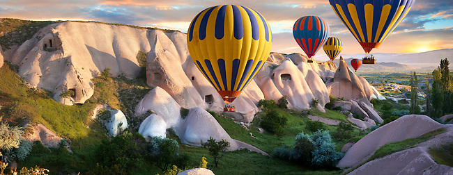 Hot Air Baloons over Goreme at sunrise , Cappadocia Turkey