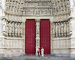 VMI Vincentian Heritage Tour: Massive doors of the Cathedral of Notre Dame at Amiens (Cathedral Basilica of Our Lady of Amiens) on Wednesday, June 22, 2016, as the VMI cohort visited the city of Amines, France. (DePaul University/Jamie Moncrief)