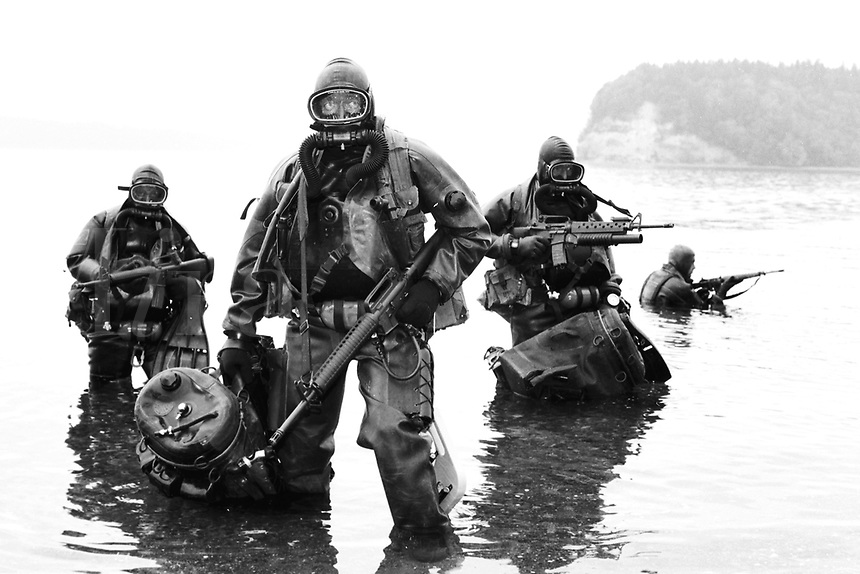 Special forces divers wearing closed circuit oxygen rebreather.Ft. Lewis, Washington.