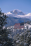 Waving flag flying w/ Longs Peak in background, Rocky Mtn Nat'l Park, CO