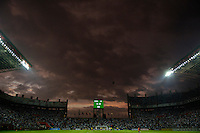 Storm clouds and the scoreboard at Estadio Metropolitano during the Copa America 2007, in Barquisimeto, Venezuela on July 5, 2007. Columbia defeated the USA, 1-0.