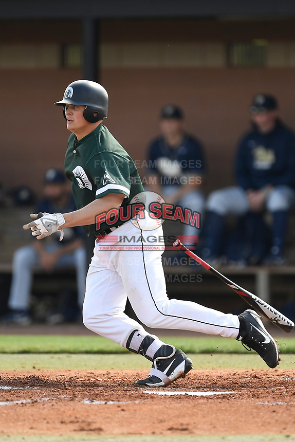 Right fielder J.J. Shimko (9) of the University of South Carolina Upstate Spartans bats in a game against the Pittsburgh Panthers on Saturday, February 24, 2018, at Cleveland S. Harley Park in Spartanburg, South Carolina. Pittsburgh won, 3-1. (Tom Priddy/Four Seam Images)