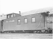 Caboose #0589 at Durango.<br /> D&amp;RGW  Durango, CO  4/27/1958