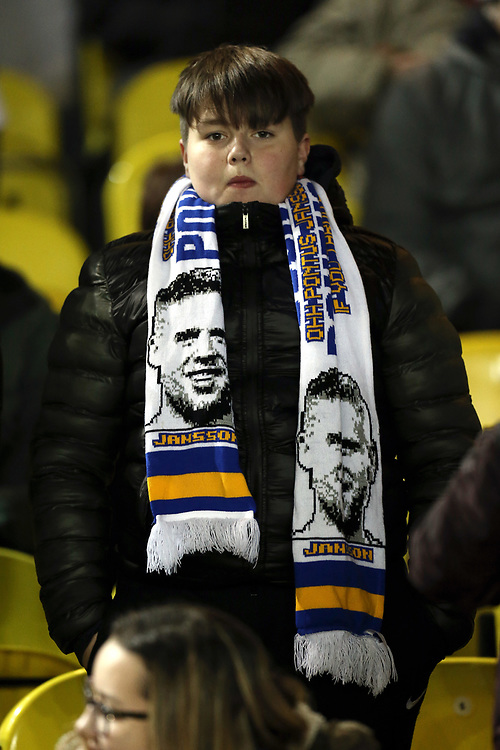 Leeds United fans soak up the atmosphere as they wait for kick-off<br /> <br /> Photographer Rich Linley/CameraSport<br /> <br /> The EFL Sky Bet Championship - Leeds United v Reading - Tuesday 27th November 2018 - Elland Road - Leeds<br /> <br /> World Copyright © 2018 CameraSport. All rights reserved. 43 Linden Ave. Countesthorpe. Leicester. England. LE8 5PG - Tel: +44 (0) 116 277 4147 - admin@camerasport.com - www.camerasport.com