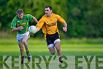 Denis Walsh(Emmets) and Paudie Lyons(Finugue) in O'Sullivan Park last Saturday evening.