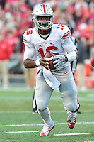 College Park, MD - NOV 12, 2016: Ohio State Buckeyes quarterback J.T. Barrett (16) in action during game between Maryland and Ohio State at Capital One Field at Maryland Stadium in College Park, MD. (Photo by Phil Peters/Media Images International)