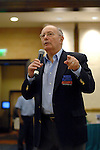 Former US Senator Alfonse D'amato addresses the players in the main event.  He is now the chairman of the Poker's Player Alliance.