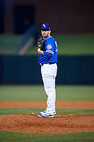 Oklahoma City Dodgers relief pitcher Jacob Rhame (35) looks in for the sign during a game against the Colorado Springs Sky Sox on June 2, 2017 at Chickasaw Bricktown Ballpark in Oklahoma City, Oklahoma.  Colorado Springs defeated Oklahoma City 1-0 in ten innings.  (Mike Janes/Four Seam Images)