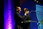 15 January 2015: MLS Commissioner Don Garber (left) and Landon Donovan (right) embrace. The Major League Soccer honored Landon Donovan by renaming their league Most Valuable Player Award after him in a tribute held at the Pennsylvania Convention Center in Philadelphia, Pennsylvania.
