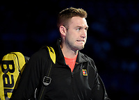 Jack Sock in action with partner Mike Bryan against Pierre-Hughes Herbert and Nicolas Mahu in their doubles Final match today<br /> <br /> Photographer Hannah Fountain/CameraSport<br /> <br /> International Tennis - Nitto ATP World Tour Finals Day 8 - O2 Arena - London - Sunday 18th November 2018<br /> <br /> World Copyright &copy; 2018 CameraSport. All rights reserved. 43 Linden Ave. Countesthorpe. Leicester. England. LE8 5PG - Tel: +44 (0) 116 277 4147 - admin@camerasport.com - www.camerasport.com