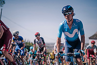 Carlos Betancur (COL/Movistar) up the Mur de Huy<br /> <br /> 82nd Fl&egrave;che Wallonne 2018 (1.UWT)<br /> 1 Day Race: Seraing - Huy (198km)
