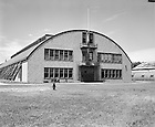GPHR 45/0040:  Navy Drill Hall exterior, c1950s..Image from the University of Notre Dame Archives.