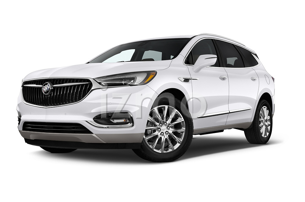 Stock pictures of low aggressive front three quarter view of a 2018 Buick Enclave Premium 5 Door SUV