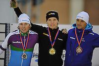 SCHAATSEN: DEVENTER: IJsbaan De Scheg, 26-10-12, IJsselcup, podium 500m, Sjoerd de Vries, Pim Schipper, Jesper Hospes, ©foto Martin de Jong