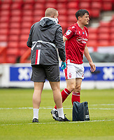 7th July 2020; City Ground, Nottinghamshire, Midlands, England; English Championship Football, Nottingham Forest versus Fulham; Joe Lolley of Notts Forest required the physio for a heavy tackle