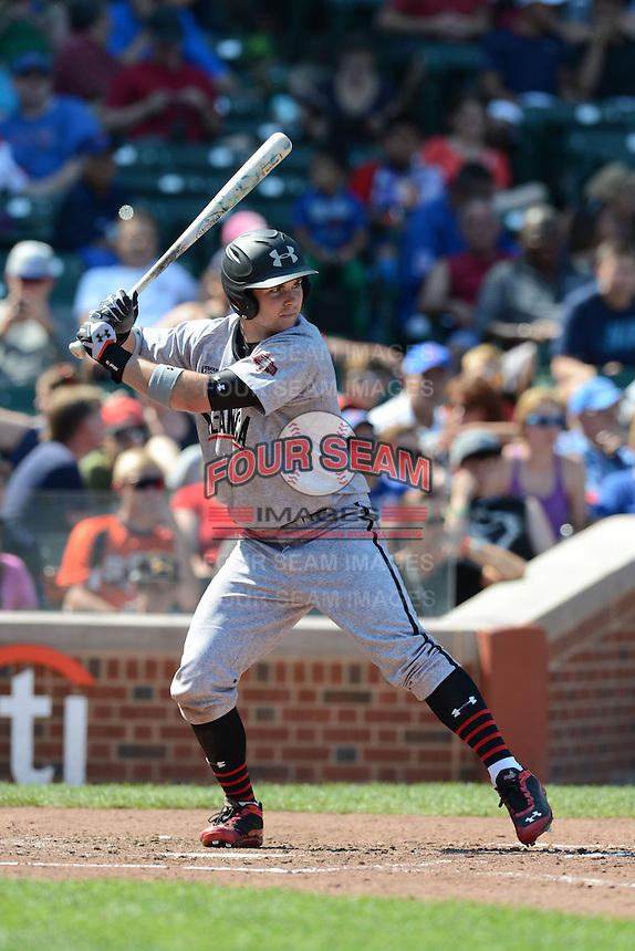 Outfielder Michael Gettys (33) of Gainesville High School in Gainesville, Florida during the Under Armour All-American Game on August 24, 2013 at Wrigley Field in Chicago, Illinois.  (Mike Janes/Four Seam Images)