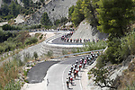 The peloton descend during Stage 2 of La Vuelta 2019 running 199.6km from Benidorm to Calpe, Spain. 25th August 2019.<br /> Picture: Luis Angel Gomez/Photogomezsport | Cyclefile<br /> <br /> All photos usage must carry mandatory copyright credit (© Cyclefile | Luis Angel Gomez/Photogomezsport)