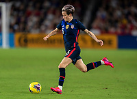 ORLANDO, FL - MARCH 05: Megan Rapinoe #15 of the United States dribbles during a game between England and USWNT at Exploria Stadium on March 05, 2020 in Orlando, Florida.
