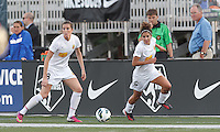 Western New York Flash forward Adriana Martin (8) and Western New York Flash midfielder Angela Salem (6) on offense. In a National Women's Soccer League Elite (NWSL) match, the Boston Breakers (blue) tied Western New York Flash (white), 2-2, at Dilboy Stadium on June 5, 2013.