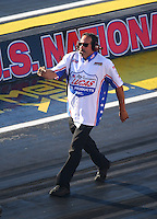 Sep 2, 2016; Clermont, IN, USA; Bill Rice crew member for NHRA pro mod driver Mike Knowles during qualifying for the US Nationals at Lucas Oil Raceway. Mandatory Credit: Mark J. Rebilas-USA TODAY Sports