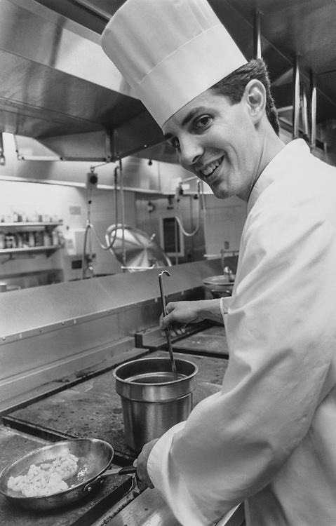 New chef for the House Members dining room Chef Robert Remsburg. 1995 (Photo by Maureen Keating/ CQ Roll Call via Getty Images)