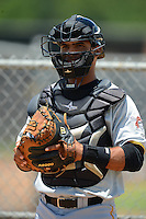 GCL Pirates catcher Tomas Morales (58) in the bullpen during a game against the GCL Astros on July 16, 2013 at Osceola County Complex in Kissimmee, Florida.  GCL Pirates defeated the GCL Astros 6-3.  (Mike Janes/Four Seam Images)