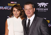 LOS ANGELES, CA - OCTOBER 10: Actor Matt Damon (R) and wife Luciana Barroso arrive at the premiere of Disney and Marvel's 'Thor: Ragnarok' at the El Capitan Theatre on October 10, 2017 in Los Angeles, California.<br /> CAP/ROT/TM<br /> &copy;TM/ROT/Capital Pictures