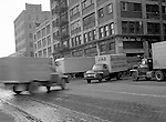 Pittsburgh PA - View of the produce yards at Smallman & 17th Streets during the early morning rush - 1956.  On location assignment for Commonnwealth Realty, selling the Thorofare warehouse building