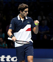 Pierre-Hugues Herbert in action against Oliver Marach and Mate Pavic <br /> <br /> Photographer Hannah Fountain/CameraSport<br /> <br /> International Tennis - Nitto ATP World Tour Finals Day 2 - O2 Arena - London - Monday 12th November 2018<br /> <br /> World Copyright &copy; 2018 CameraSport. All rights reserved. 43 Linden Ave. Countesthorpe. Leicester. England. LE8 5PG - Tel: +44 (0) 116 277 4147 - admin@camerasport.com - www.camerasport.com