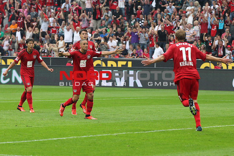 24.08.2013, BayArena, Leverkusen, GER, 1.FBL, Bayer Leverkusen vs Borussia Moenchengladbach, im Bild<br /> Torjubel / Jubel  nach dem 2:0 durch Sidney Sam (Leverkusen #18) (mi.) mit Stefan Kie&szlig;ling (Leverkusen #11) (li.) und Heung-Min Son (Leverkusen #7) und Sebastian Boenisch (Leverkusen #17)<br /> <br /> Foto &copy; nph / Mueller