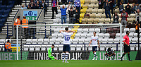 Preston North End players, from left, Declan Rudd, Josh Harrop, Ben Davies and Daniel Johnson react after Reading's Leandro Bacuna scored his side's third goal <br /> <br /> Photographer Chris Vaughan/CameraSport<br /> <br /> The EFL Sky Bet Championship - Preston North End v Reading - Saturday 15th September 2018 - Deepdale - Preston<br /> <br /> World Copyright &copy; 2018 CameraSport. All rights reserved. 43 Linden Ave. Countesthorpe. Leicester. England. LE8 5PG - Tel: +44 (0) 116 277 4147 - admin@camerasport.com - www.camerasport.com
