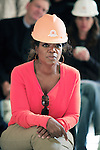 """JOHANNESBURG, SOUTH AFRICA AUGUST 10: Oprah Winfrey inspects the construction site of her school """"Oprah Winfrey Leadership Academy for Girls"""" located about 40 miles south of Johannesburg in Henley-on-Klip, Meyerton. Oprah visited South Africa to interview girls and to inspect the construction of the school. (Photo by Per-Anders Pettersson)..."""