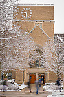 February 13, 2020; Students walk past O'Shaughnessy Hall on a winter morning. (Photo by Matt Cashore/University of Notre Dame)