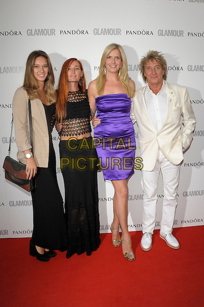 guests, Penny Lancaster, Rod Stewart.Women Of The Year 2012 - Glamour Awards, Berkeley Square, London, England..29th May 2012.full length white black suit dress  purple strapless silk satin married husband wife beige blazer skirt sheer top.CAP/PL.©Phil Loftus/Capital Pictures.