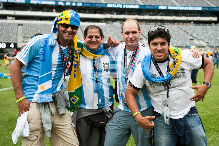 Fans on the field after the match. Argentina defeated Brazil 4-3 in an international friendly at MetLife Stadium in East Rutherford, NJ, on June 9, 2012.