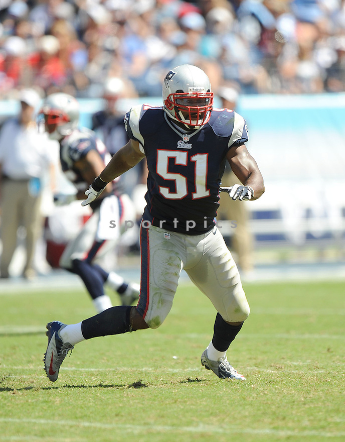 New England Patriots Jerod Mayo (51) in action during a game against the Tennessee Titans on September 9, 2012 at LP Field in Nashville, TN. The Patriots beat the Titans 34-13