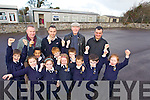 Daniel Sheehy, Sadhbh Horgan, Fionn Dairo, Grainne O'Donnell, William O'Donoghue, Katelyn O'Grady, Sean Whelan, Cyprian Wronoski, Rory Kelliher and Fiona O'Connor Children from Blennerville National School celebrate the approval for their new building which will be completed in September 2015 at back from Left ate members of the board of Management Brendan O'Donoghue, Terry O'Sullivan, Principal, Fred Garvey, Chairman and Fr Francis Nolan.