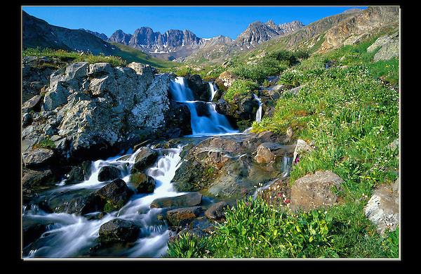 From John's 3rd book &quot;Mastering Nature Photography&quot;. Waterfall in American Basin, San Juan Mountains. <br />