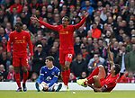 Ross Barkley of Everton after his tackle on Dejan Lovren of Liverpool during the English Premier League match at Anfield Stadium, Liverpool. Picture date: April 1st 2017. Pic credit should read: Simon Bellis/Sportimage