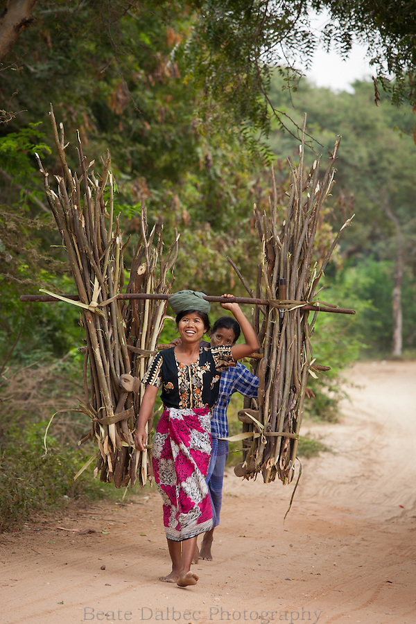 Women carrying wood, Bagan, Myanmar