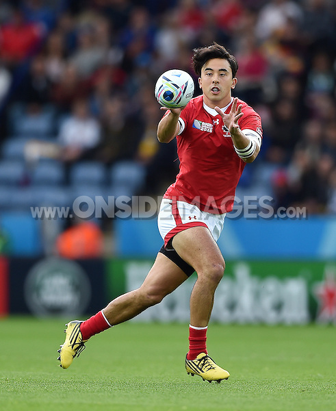 Nathan Hirayama of Canada receives the ball. Rugby World Cup Pool D match between Canada and Romania on October 6, 2015 at Leicester City Stadium in Leicester, England. Photo by: Patrick Khachfe / Onside Images