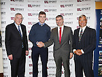 27/10/2015   With Compliments.  Attending the GAA High Performance Scholarships 2015-2016 in the Castletroy Park Hotel were Prof Don Barry, President, UL, Gold Standard Recipient Tony Kelly, Ballyea, Clare a 3rd Year Business student, an All Ireland Senior Hurling Championship 2013, Hurler of the Year &amp; Young Hurler of the Year 2013, has 3 All Ireland &amp; 3 Munster U21 Hurling Championships, Fitzgibbon Cup Winner 2015, named on Fitzgibbon team of the year 2015 and All Star Nominee 2015, Liam Sheedy, Area Manager Midwest Region, Bank of Ireland and Dave Mahedy, Director of Sport, UL.<br /> Photograph: Liam Burke/Press 22