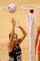 10.02.2017 Silver Ferns Bailey Mes in action during the Silver Ferns v England Roses Vitality Netball International Series test match played at the Echo Arena in Liverpool. Mandatory Photo Credit © Paul Greenwood/Michael Bradley Photography.
