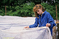 HB07-058x  Girl putting fabric row covering in place