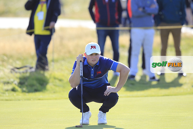 Alex Fitzpatrick (GB&I) on the 15th during Day 1 Singles of the Walker Cup at Royal Liverpool Golf CLub, Hoylake, Cheshire, England. 07/09/2019.<br /> Picture: Thos Caffrey / Golffile.ie<br /> <br /> All photo usage must carry mandatory copyright credit (© Golffile   Thos Caffrey)