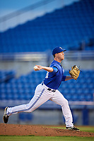 Dunedin Blue Jays relief pitcher Jonathan Cheshire (18) delivers a pitch during a game against the Jupiter Hammerheads on August 14, 2018 at Dunedin Stadium in Dunedin, Florida.  Jupiter defeated Dunedin 5-4 in 10 innings.  (Mike Janes/Four Seam Images)