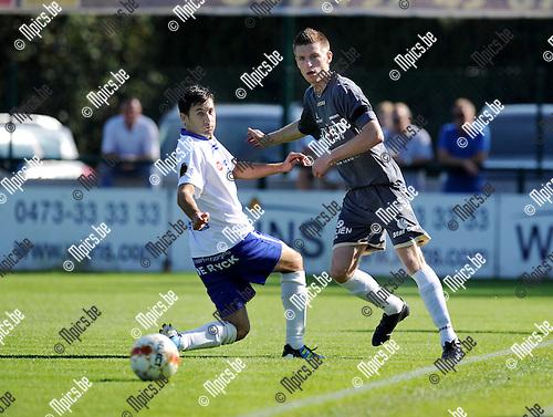2011-09-02 / Voetbal / seizoen 2011-2012 / KSK Heist - Lommel United / Yusuf Özcan (L, Heist) met Toon Lenaerts..Foto: Mpics
