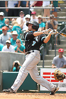 The Coastal Carolina University Chanticleers shortstop Tyler Motter #7  at bat during the 2nd and deciding game of the NCAA Super Regional vs. the University of South Carolina Gamecocks on June 13, 2010 at BB&T Coastal Field in Myrtle Beach, SC.  The Gamecocks defeated Coastal Carolina 10-9 to advance to the 2010 NCAA College World Series in Omaha, Nebraska. Photo By Robert Gurganus/Four Seam Images